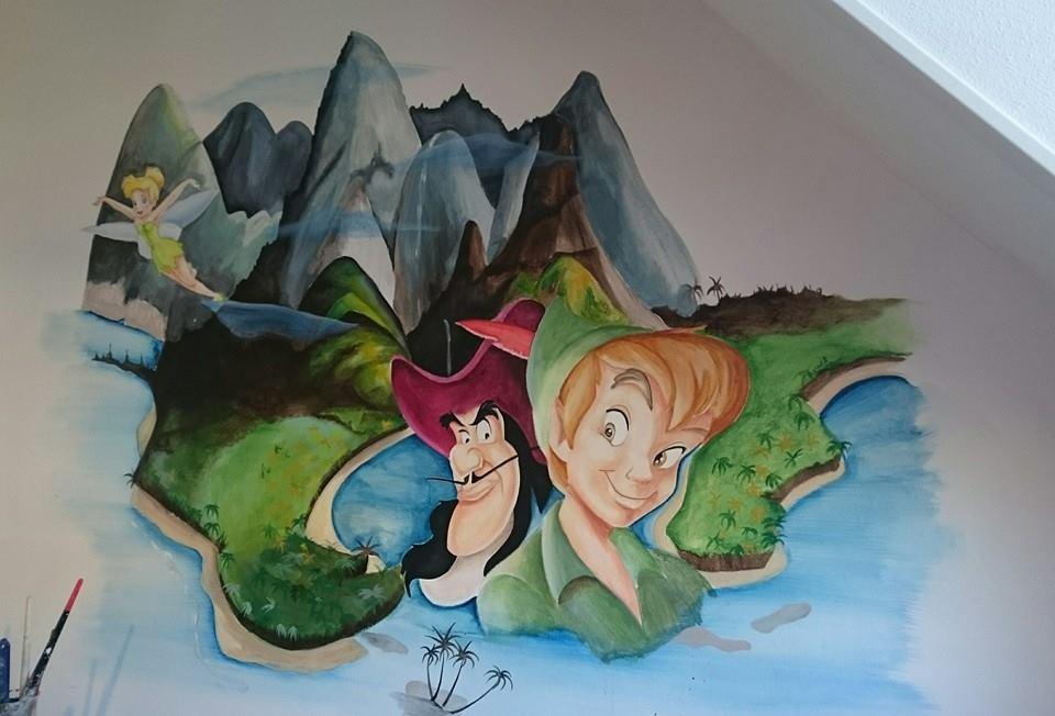 Peter Pan muurschildering